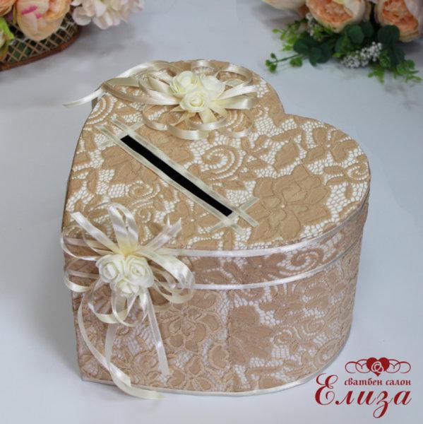 Сватбена кутия за пари с дантела H19